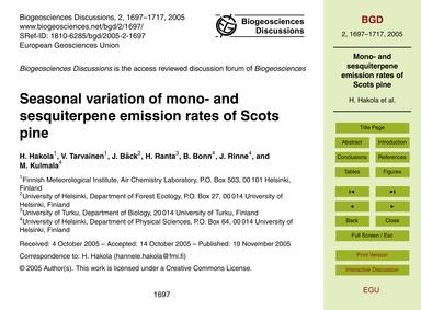 Seasonal Variation of Mono- and Sesquite... by Hakola, H.