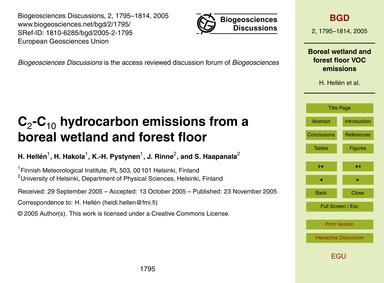 C2-c10 Hydrocarbon Emissions from a Bore... by Hellén, H.