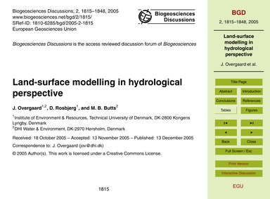 Land-surface Modelling in Hydrological P... by Overgaard, J.