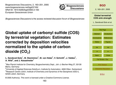 Global Uptake of Carbonyl Sulfide (Cos) ... by Sandoval-soto, L.