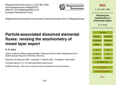 Particle-associated Dissolved Elemental ... by Antia, A. N.