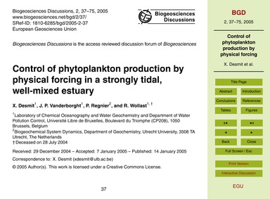 Control of Phytoplankton Production by P... by Desmit, X.