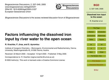 Factors Influencing the Dissolved Iron I... by Krachler, R.