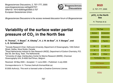 Variability of the Surface Water Partial... by Thomas, H.