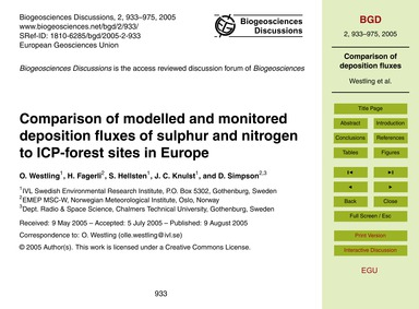 Comparison of Modelled and Monitored Dep... by Westling, O.