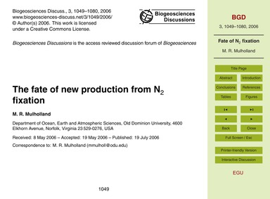 The Fate of New Production from N2 Fixat... by Mulholland, M. R.