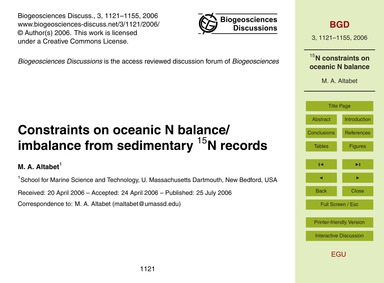Constraints on Oceanic N Balance/Imbalan... by Altabet, M. A.