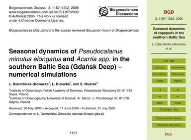 Seasonal Dynamics of Pseudocalanus Minut... by Dzierzbicka-głowacka, L.