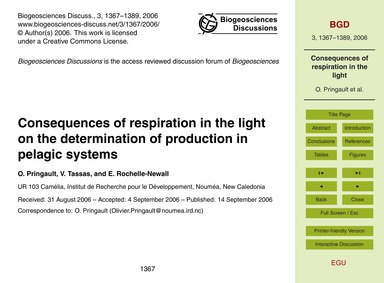 Consequences of Respiration in the Light... by Pringault, O.