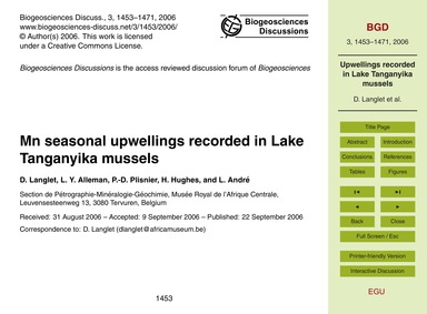 Mn Seasonal Upwellings Recorded in Lake ... by Langlet, D.