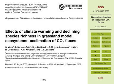 Effects of Climate Warming and Declining... by Vicca, S.