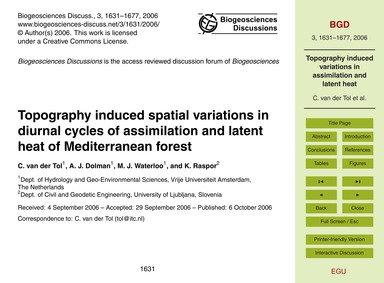 Topography Induced Spatial Variations in... by Van Der Tol, C.