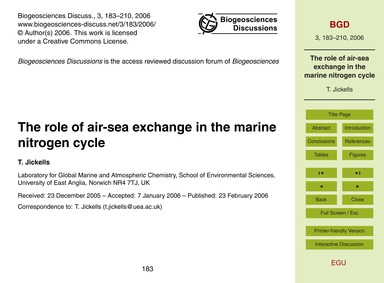 The Role of Air-sea Exchange in the Mari... by Jickells, T.