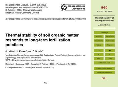 Thermal Stability of Soil Organic Matter... by Leifeld, J.