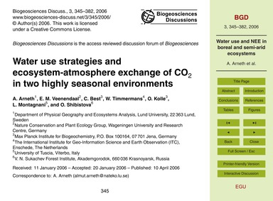 Water Use Strategies and Ecosystem-atmos... by Arneth, A.