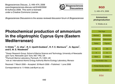 Photochemical Production of Ammonium in ... by Kitidis, V.