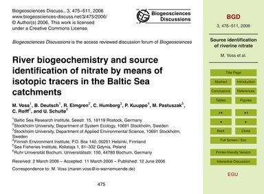 River Biogeochemistry and Source Identif... by Voss, M.