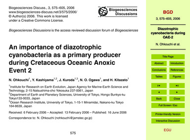 An Importance of Diazotrophic Cyanobacte... by Ohkouchi, N.