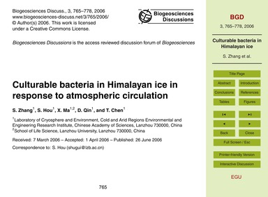 Culturable Bacteria in Himalayan Ice in ... by Zhang, S.