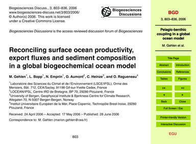 Reconciling Surface Ocean Productivity, ... by Gehlen, M.