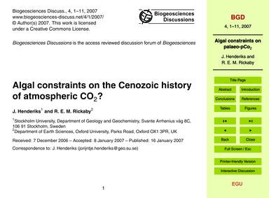 Algal Constraints on the Cenozoic Histor... by Henderiks, J.
