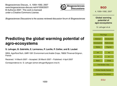 Predicting the Global Warming Potential ... by Lehuger, S.