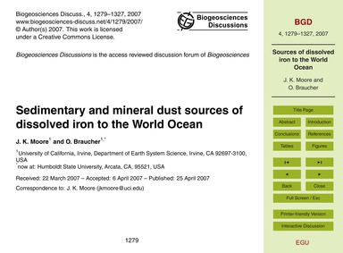 Sedimentary and Mineral Dust Sources of ... by Moore, J. K.