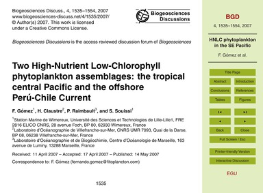 Two High-nutrient Low-chlorophyll Phytop... by Gómez, F.