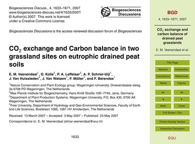 Co2 Exchange and Carbon Balance in Two G... by Veenendaal, E. M.