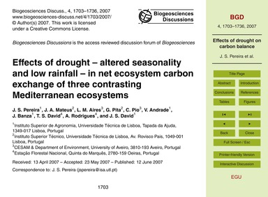 Effects of Drought – Altered Seasonality... by Pereira, J. S.