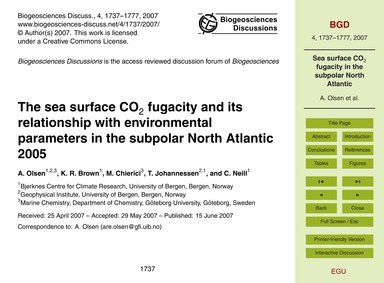 The Sea Surface Co2 Fugacity and Its Rel... by Olsen, A.