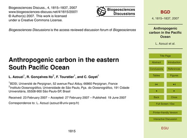 Anthropogenic Carbon in the Eastern Sout... by Azouzi, L.