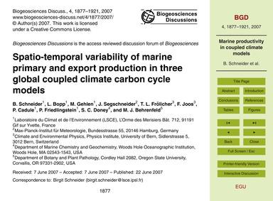 Spatio-temporal Variability of Marine Pr... by Schneider, B.