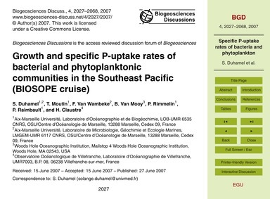 Growth and Specific P-uptake Rates of Ba... by Duhamel, S.