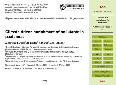 Climate-driven Enrichment of Pollutants ... by Martínez Cortizas, A.
