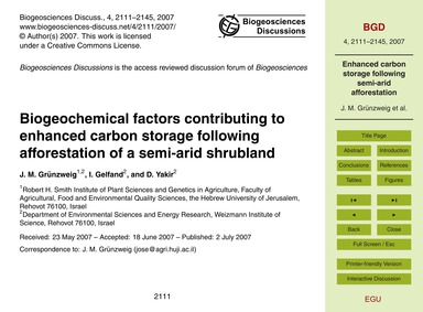 Biogeochemical Factors Contributing to E... by Grünzweig, J. M.