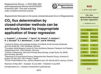 Co2 Flux Determination by Closed-chamber... by Kutzbach, L.