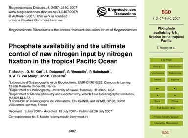 Phosphate Availability and the Ultimate ... by Moutin, T.