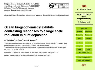 Ocean Biogeochemistry Exhibits Contrasti... by Tagliabue, A.