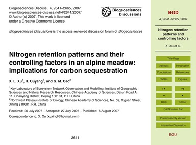 Nitrogen Retention Patterns and Their Co... by Xu, X. L.