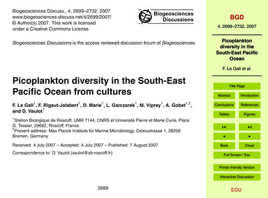 Picoplankton Diversity in the South-east... by Le Gall, F.