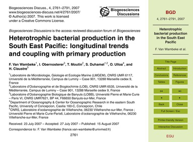 Heterotrophic Bacterial Production in th... by Van Wambeke, F.