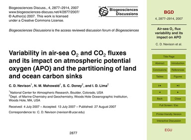Variability in Air-sea O2 and Co2 Fluxes... by Nevison, C. D.