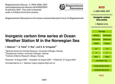 Inorganic Carbon Time Series at Ocean We... by Skjelvan, I.