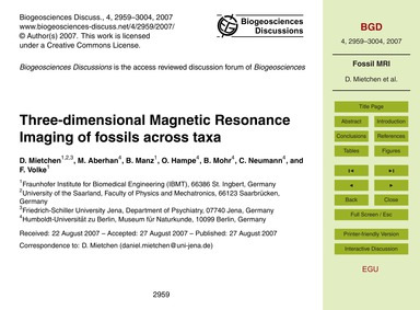 Three-dimensional Magnetic Resonance Ima... by Mietchen, D.