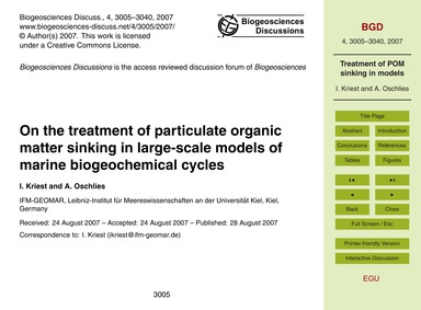 On the Treatment of Particulate Organic ... by Kriest, I.