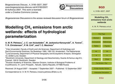 Modelling Ch4 Emissions from Arctic Wetl... by Petrescu, A. M. R.