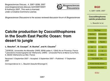 Calcite Production by Coccolithophores i... by Beaufort, L.