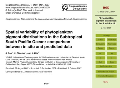 Spatial Variability of Phytoplankton Pig... by Ras, J.