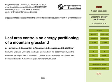 Leaf Area Controls on Energy Partitionin... by Hammerle, A.